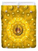 Golden Mandala With Pearls Duvet Cover