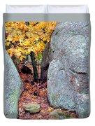 Golden Oak Through Boulders At Elephant Rocks State Park Duvet Cover