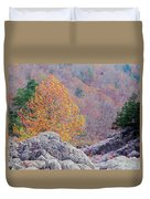 Golden Poplar Among The Rocks At Johnsons Shut Ins State Park Duvet Cover