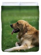 Golden Retriever Dog Laying In The Grass Duvet Cover