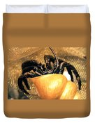 Golden Seashell Crab Still Life Duvet Cover