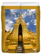 Golden Stupa Front View Bangkok Duvet Cover