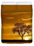 Golden Sunrise Silhouette Duvet Cover