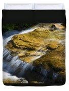 Golden Waterfall Glacier National Park Duvet Cover