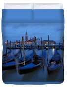 Gondolas At Dusk In Venice Duvet Cover