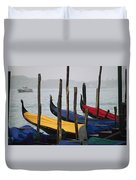 Gondolas At Harbor On A Misty Day Duvet Cover