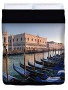Gondolas Docked Outside Of Piazza San Duvet Cover
