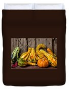 Gourds Against Wooden Wall Duvet Cover