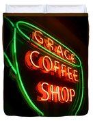 Grace Coffee Shop Neon Duvet Cover