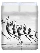 Graceful Line Of Beach Dancers Duvet Cover