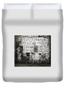 Graffiti And Bicycle Duvet Cover