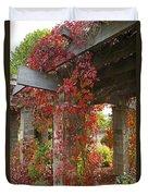 Grape Leaves On Columns Duvet Cover