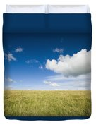 Grassy Field On Hill With Blue Skies Duvet Cover