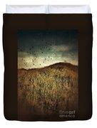 Grassy Hill Birds In Flight Duvet Cover