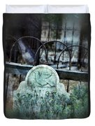 Gravestone With Dove Carved  Duvet Cover