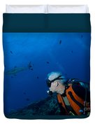 Gray Reef Shark With Diver, Papua New Duvet Cover by Steve Jones