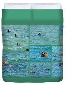 Gray Seals At Chatham - Cape Cod Duvet Cover