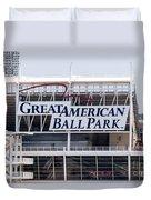Great American Ball Park Sign In Cincinnati Duvet Cover