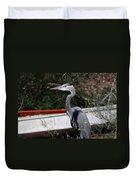 Great Blue Heron - Blue Man Flew Duvet Cover