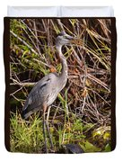 Great Blue Heron And Turtle Duvet Cover