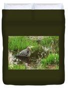 Great Blue Heron At The Marsh Duvet Cover