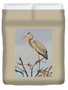 Great Blue Heron In Habitat Duvet Cover