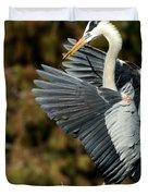 Great Blue Heron Landing Duvet Cover