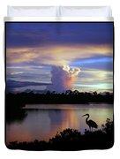 Great Blue Heron Sunset Duvet Cover