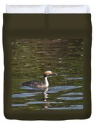 Great Crested Grebe With Breakfast Duvet Cover