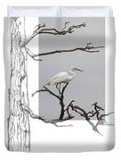 Great Egret - Gnarled Tree Duvet Cover