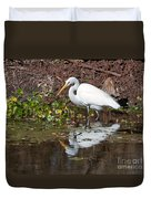 Great Egret Searching For Food In The Marsh Duvet Cover
