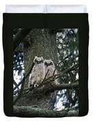 Great Horned Owls Young Duvet Cover