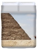 Great Pyramid Of Khufu Cheops And Camel Duvet Cover