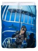 Great White Shark Behind Frightened Duvet Cover