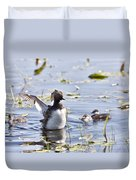 Grebe With Babies Duvet Cover