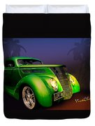 Green 37 Ford Hot Rod Decked Out For A Tropical Saint Patrick Day In South Texas Duvet Cover
