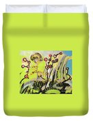 Green And Blue Weed Painting Duvet Cover