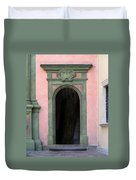 Green And Pink Doorway In Krakow Poland Duvet Cover
