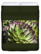 Green And Red Succulent Duvet Cover