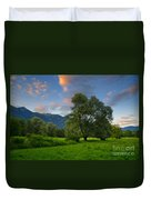 Green Field With Trees Duvet Cover