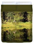 Green In Summit Lake Duvet Cover