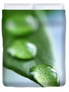 Green Leaf With Water Drops Duvet Cover