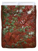 Green Leaves Against Red Leaves Duvet Cover