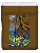 Green Leaves And Autumn Reflection Duvet Cover