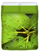 Green Leaves With Water Droplets Duvet Cover