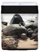 Green Sea Turtle With Gps Duvet Cover