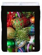 Green Star Christmas Ornament Duvet Cover