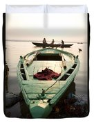 Green Stationary Boat At Waters Edge Duvet Cover