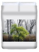 Green Tree And Pampas Grass Duvet Cover