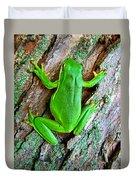 Green Tree Frog Duvet Cover